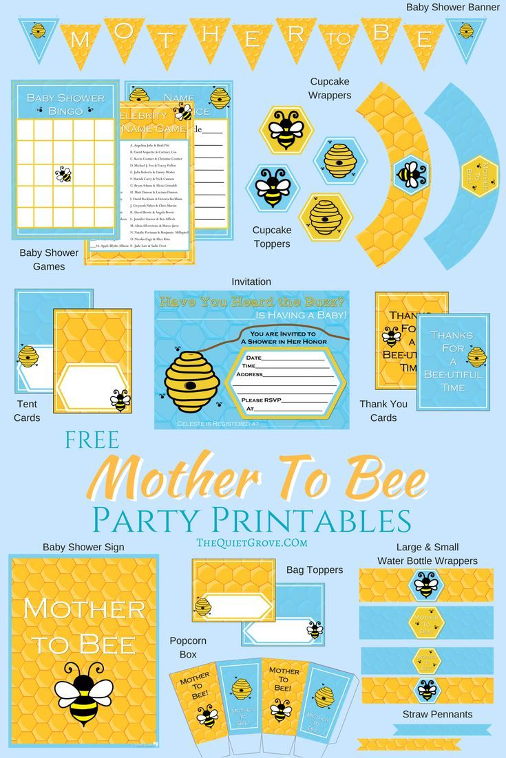 "Free ""Mother To BEE"" Baby Shower Party Printables via @TheQuietGrove"