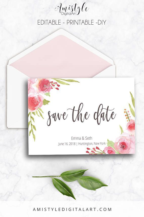 save the date editable pdf rose printable instant download save the