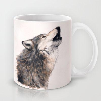 """""""Loup / Wolf"""" Mug by Savousepate - $15.00 #mug #wolf #watercolor"""