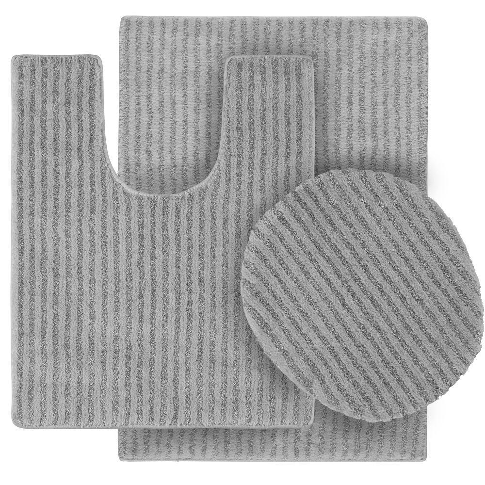 Sheridan Platinum Gray 21 Inx 34 Inwashable Bathroom 3Piece Prepossessing 3 Piece Bathroom Rug Sets Design Inspiration