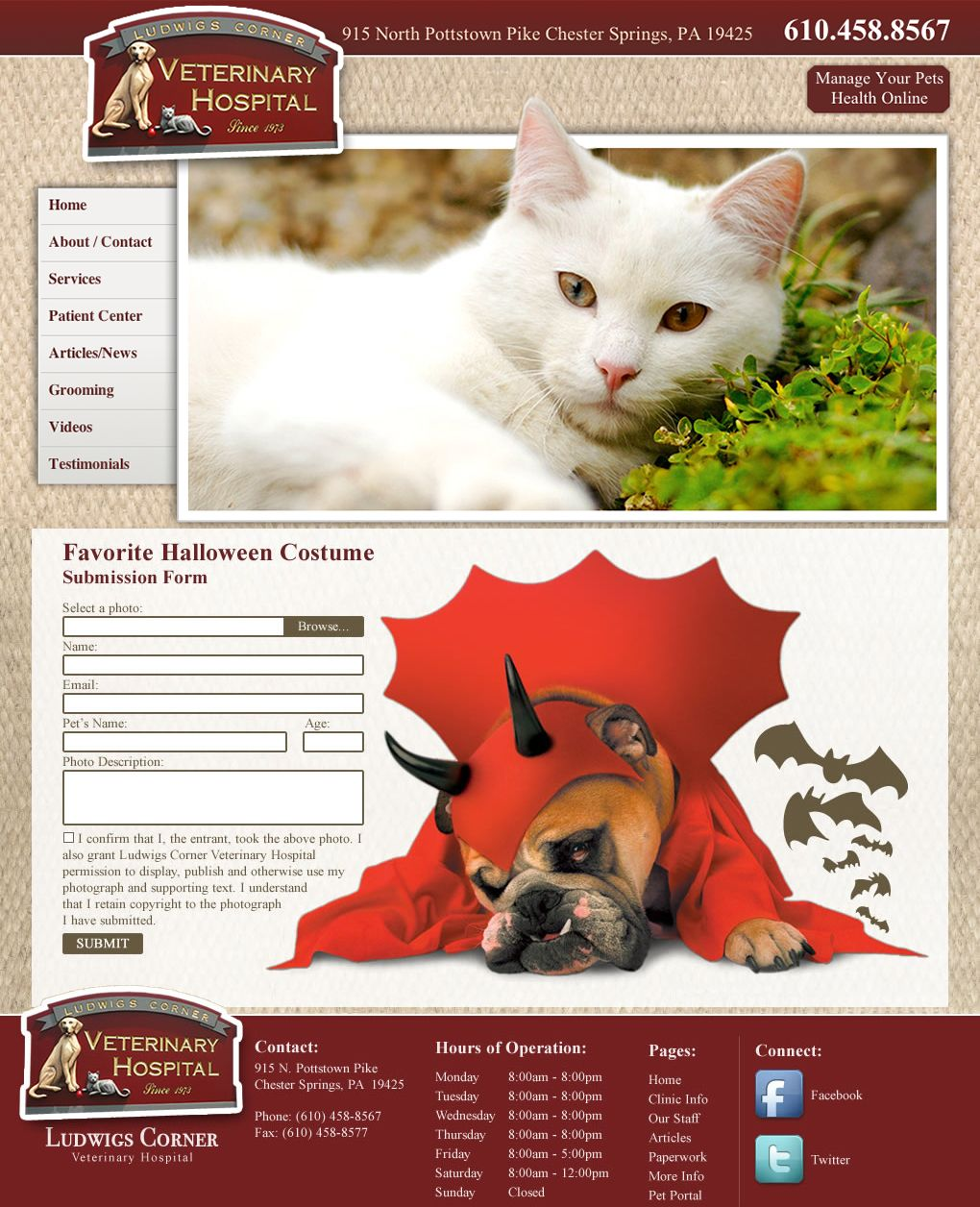 Ludwigs Corner Veterinary Hospital Veterinary Website Bluetonemedia Designed By Michelle Lemasters Animal Hospital Veterinary Hospital Veterinary