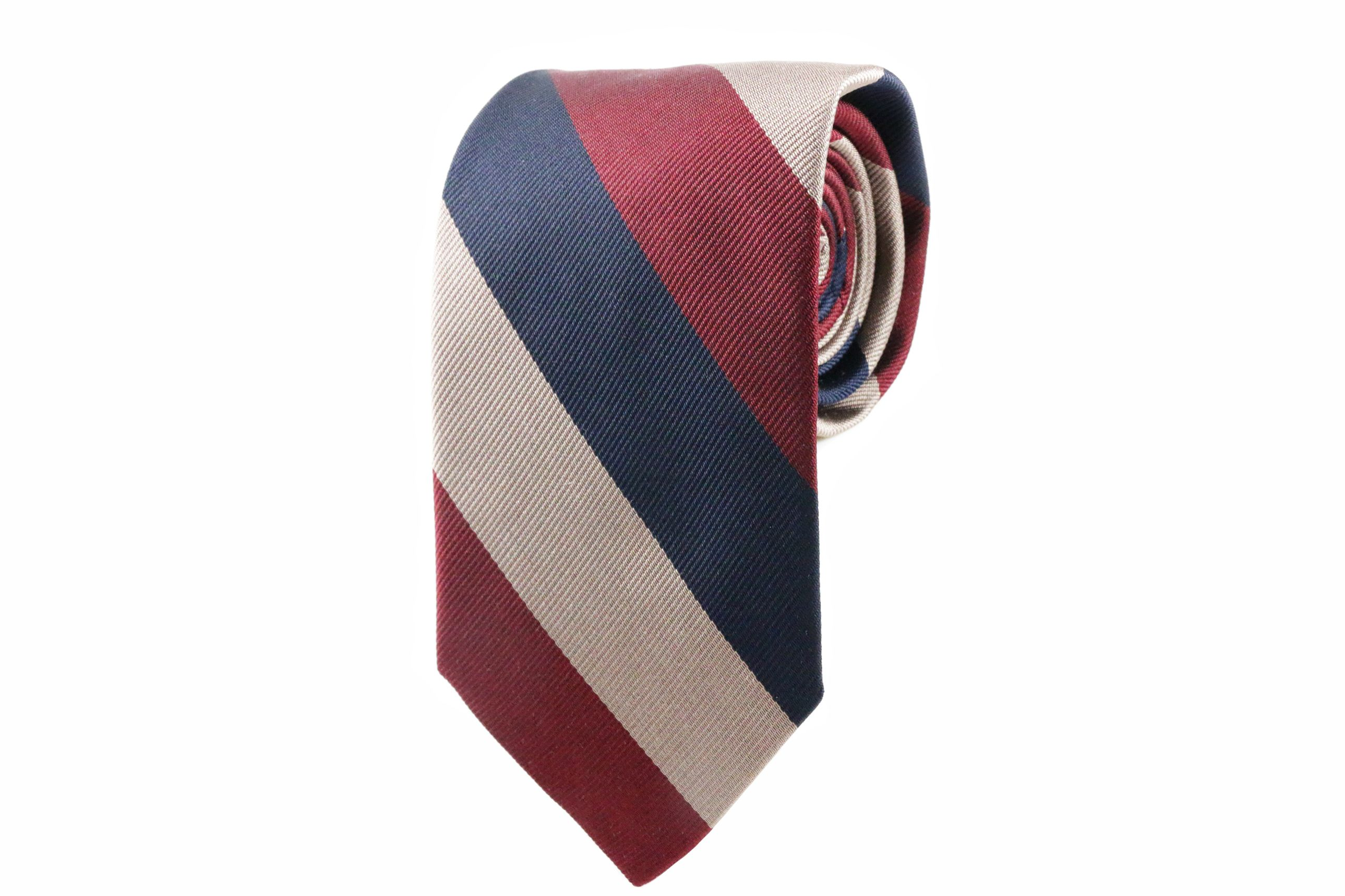 Silk tie from The American Nobility Collection from LORD WALLINGTON   http://lordwallington.com/product/navy-blue-crimson-taupe-striped-tie/