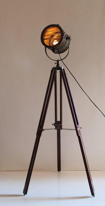 Antique Tripod Nautical Floor Lamp Industrial Vintage Look Lamp For Living Diy Floor Lamp Industrial Floor Lamps Nautical Floor Lamps