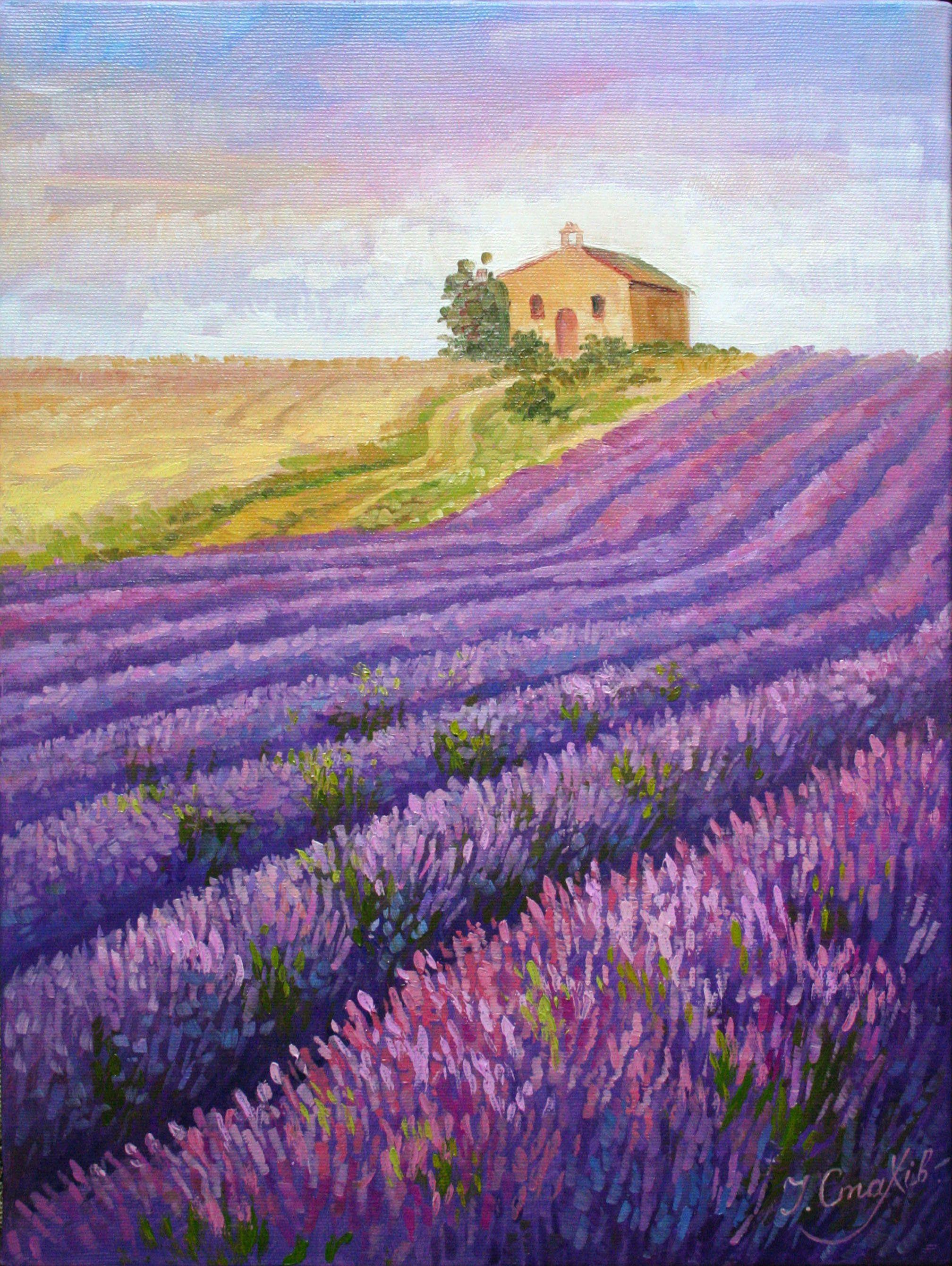 Lavender Field Painting Etsy Landscape Art Quilts Landscape Drawings Field Paint