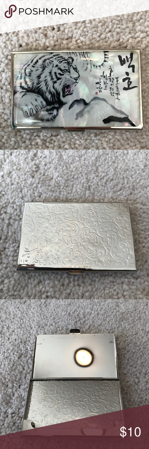 Tiger print business card holder from korea my posh closet tiger print business card holder from korea beautiful tiger print on pearl background the material feels like rubber the silver is tin metal reheart Images