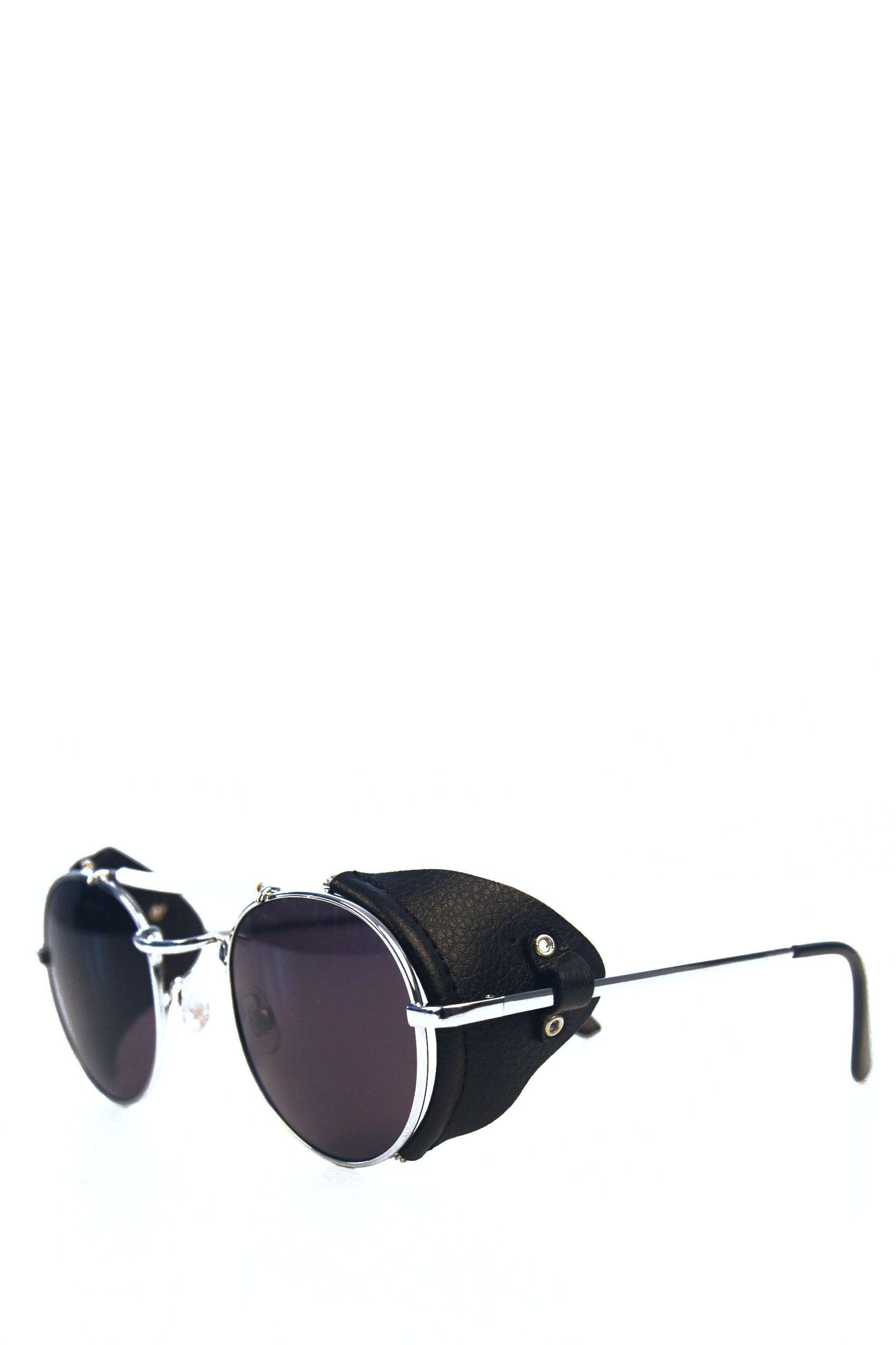 7cf3e959bd9 TECHNOTRONIC Metal and Leather Sunglasses - Silver tone sunglasses by  Spitfire. Featuring rounded frames