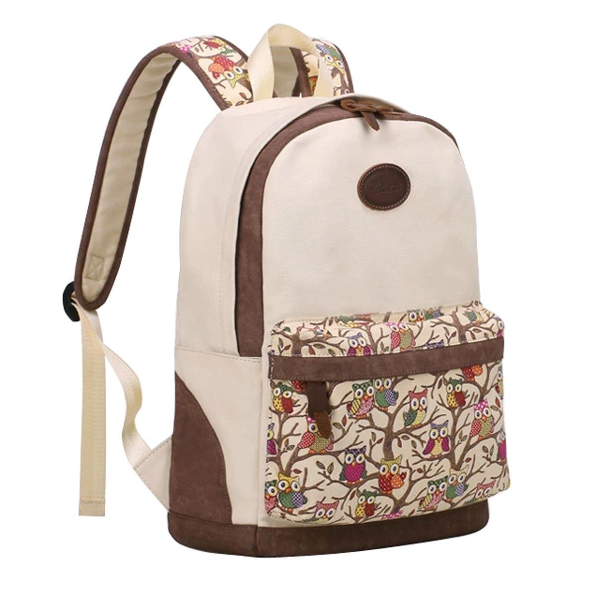 Amazon.com  TinoTrade Cute Owl Print Canvas School Backpack For Teens Girls   Clothing 8921492ab6