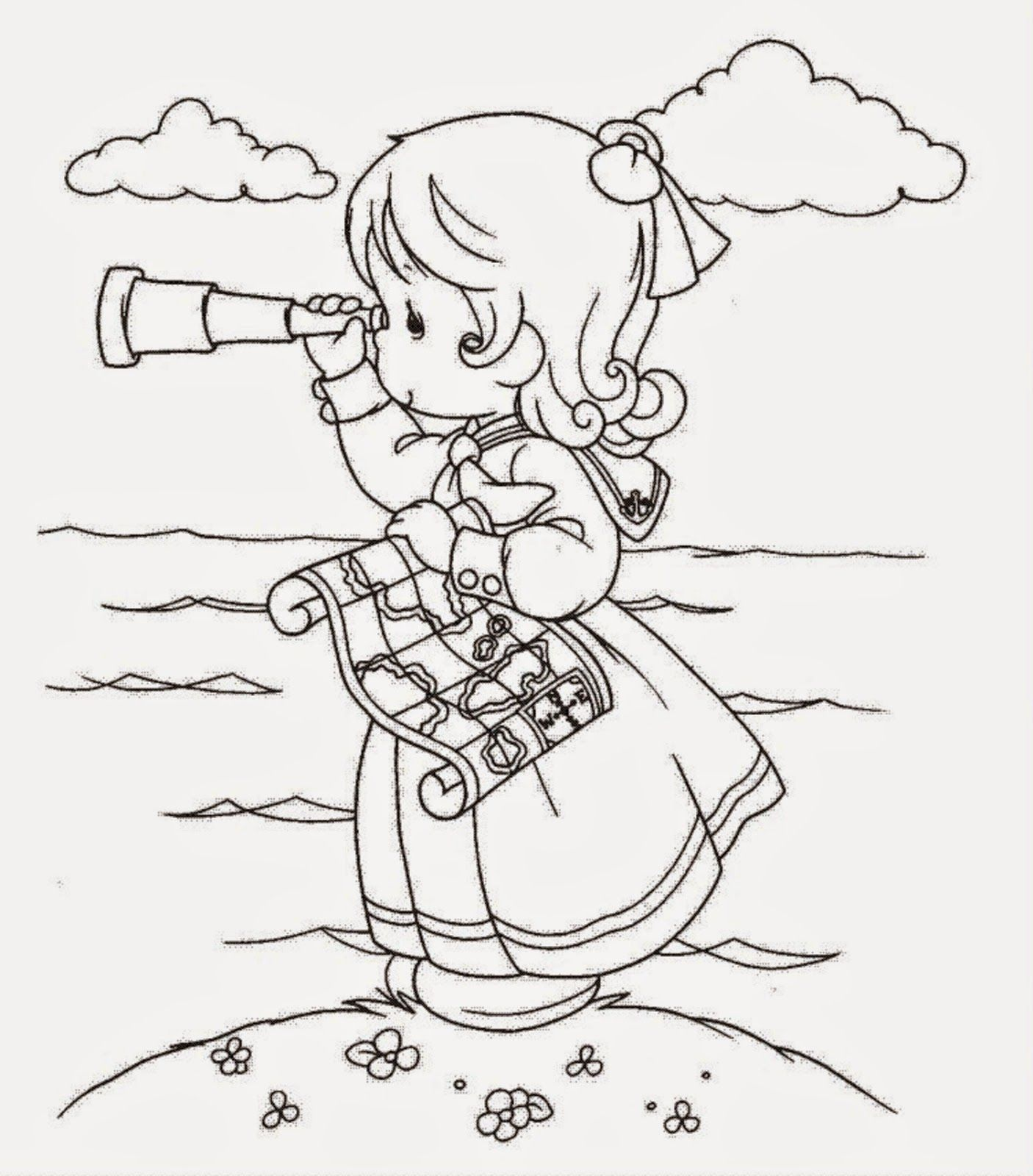 Beautiful Precious Moments Girl Coloring Page for Kids of a Cute ...