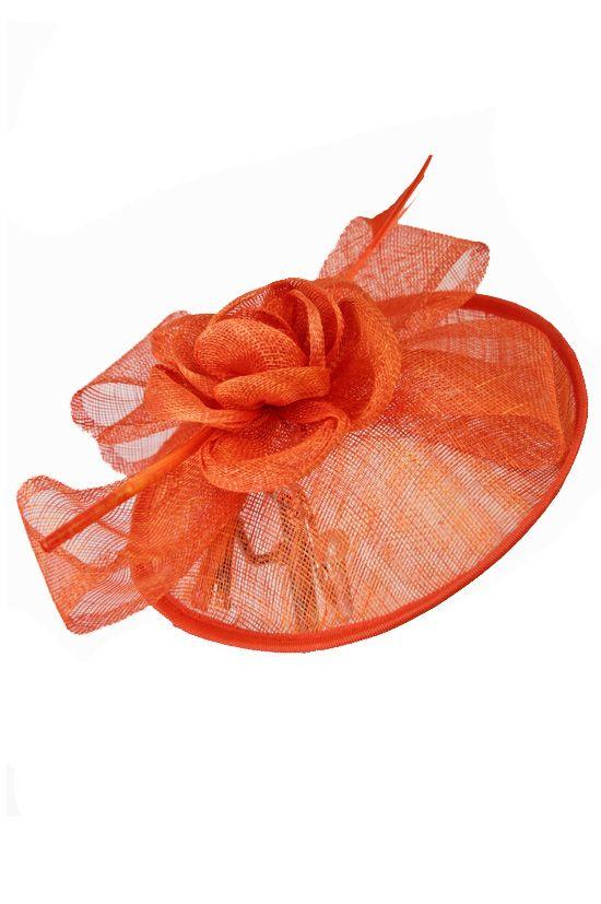 a295b4b2 Large Orange Sinamay Hat Fascinator with Clip   orange