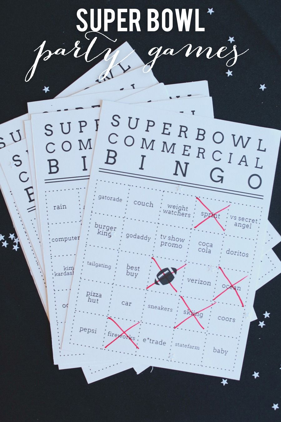 Super Bowl Bingo whoever gets 5 in a row first wins