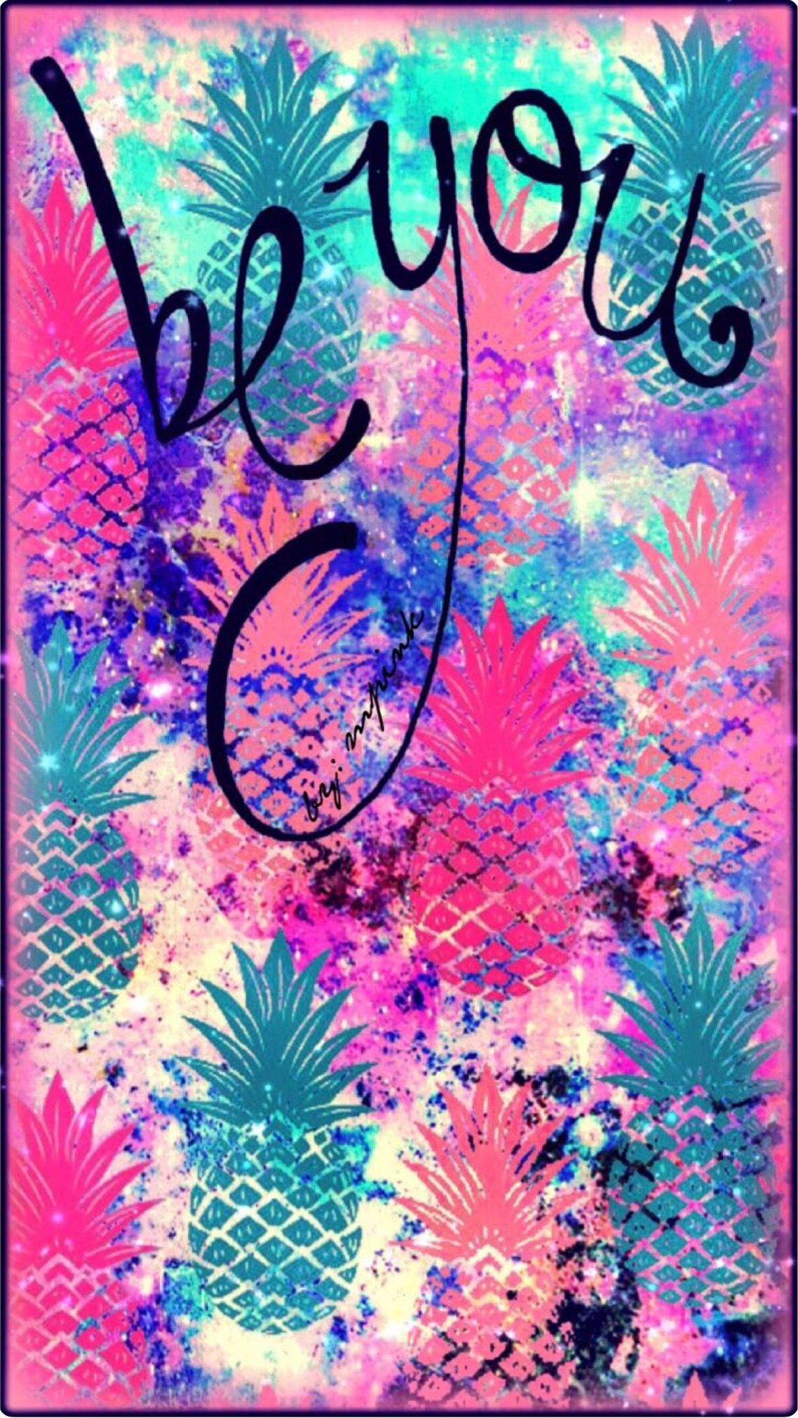 Be you tropical pink turquoise apricot pineapple wallpaper