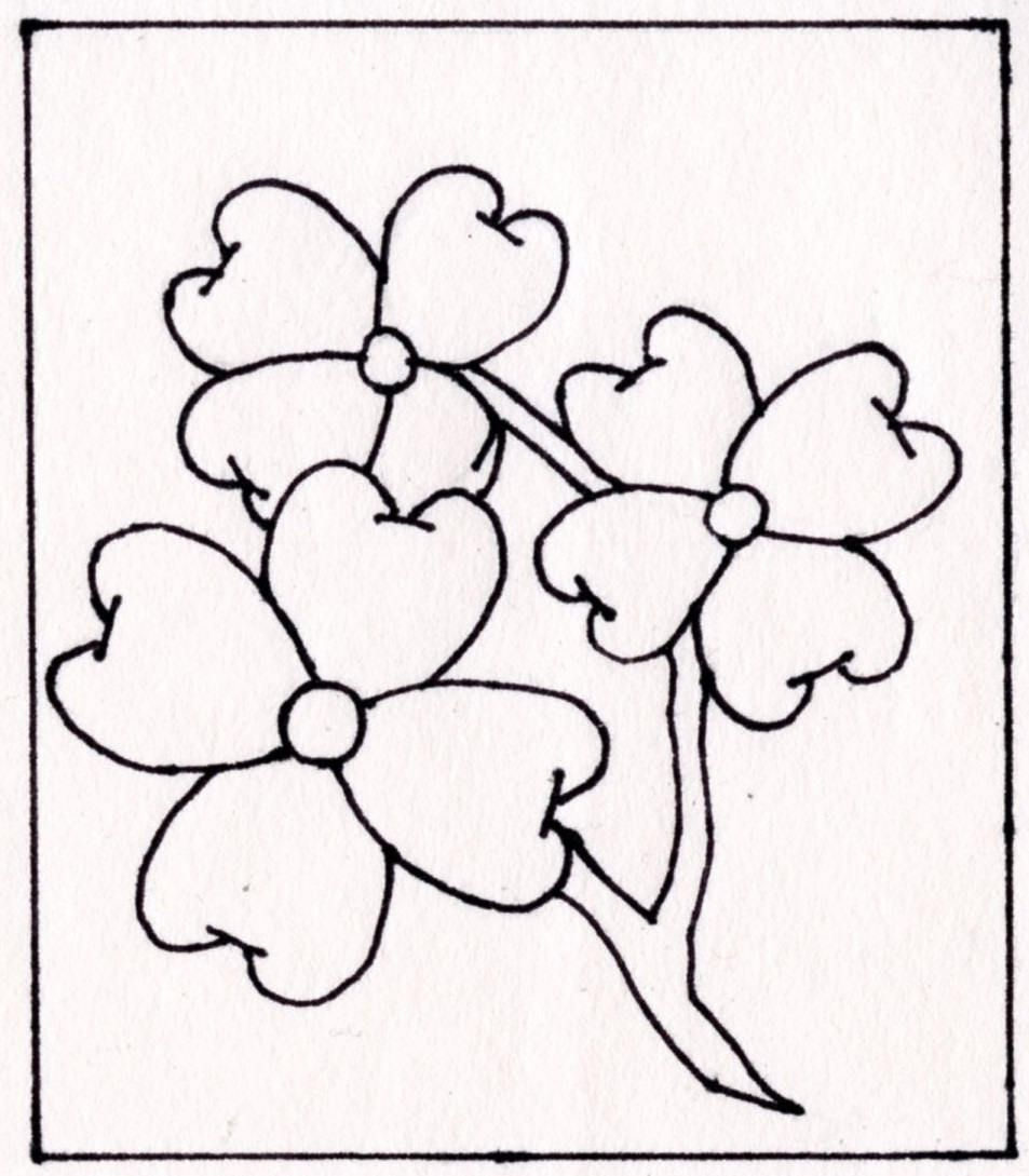 Coloring Pages Dogwood Flowers By Blackcatstitchcrafts On Etsy