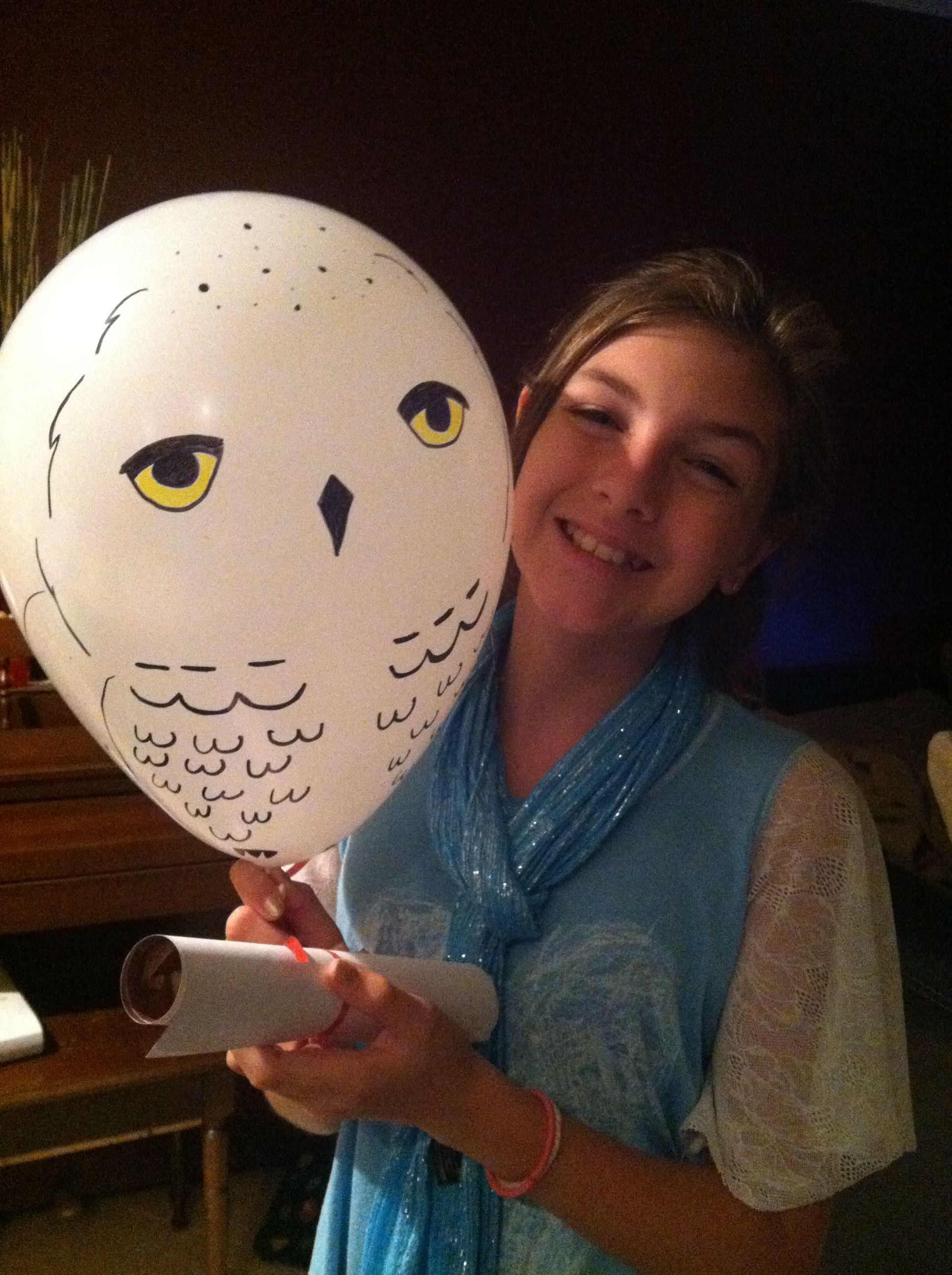 Hedwig invitations.. Hand drawn owl on white balloon and a ...