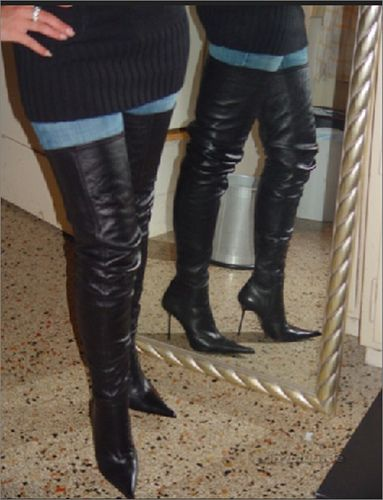 High-Heel Crotch Thigh Boots with covered platform black leather ...