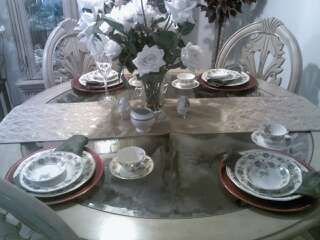 Dining set for company or a intimate dinner, Vintage China combined with modern charger  Plates, Napkins and Table runner.