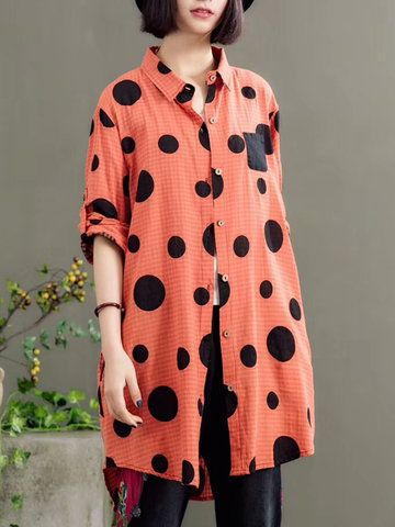 c26528a73d241 Casual Loose Polka Dot Print Long Sleeve Lapel Blouses For Women Cheap -  NewChic Mobile