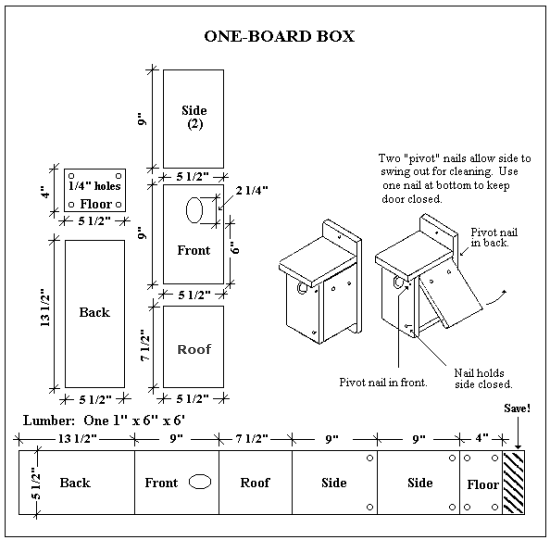 free bluebird house plans. uses only 1 board. | Crafting Inspiration on