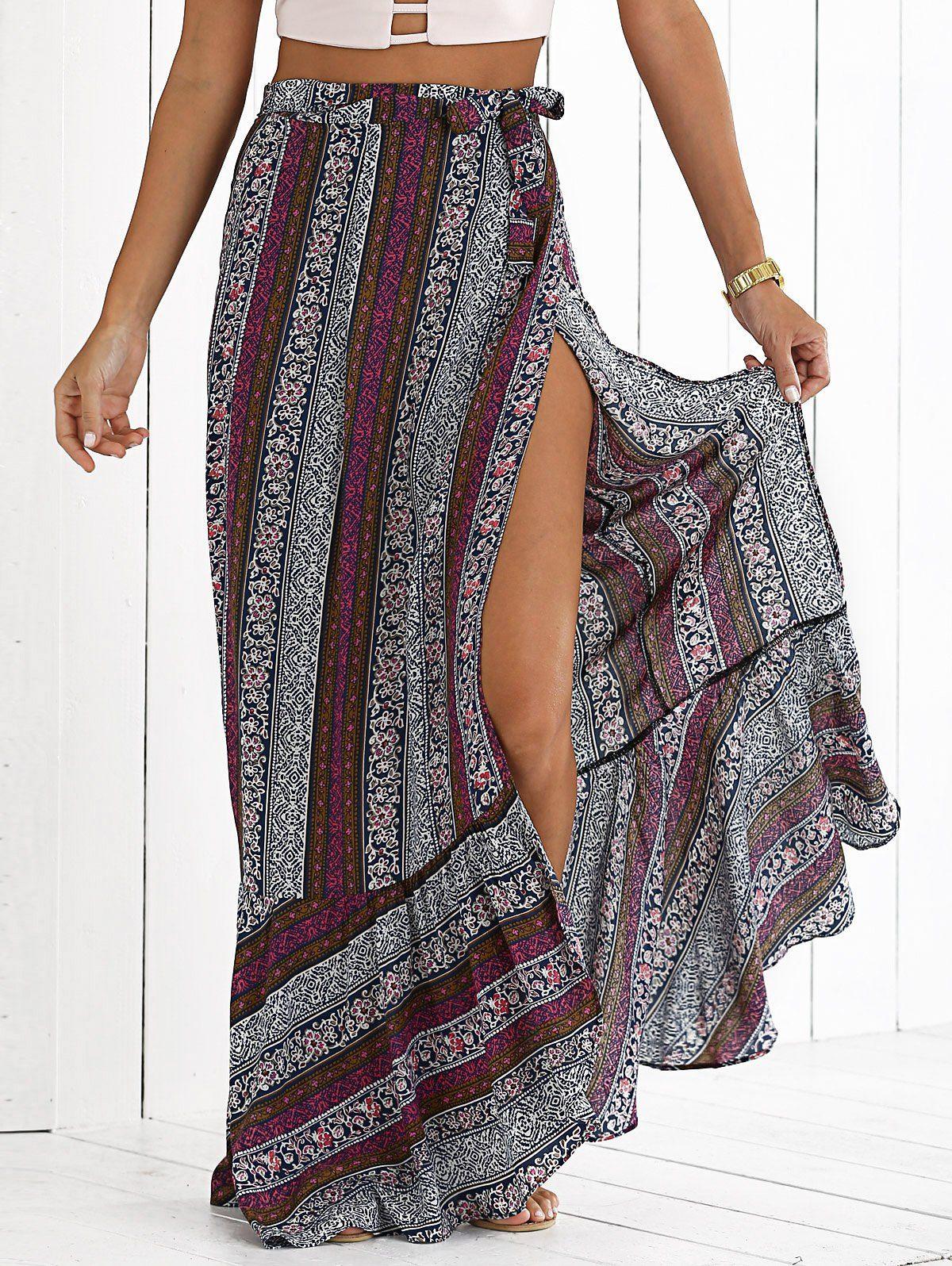 printed high slit bohemian maxi skirt habillements jupe vetement hippie chic et vetements. Black Bedroom Furniture Sets. Home Design Ideas