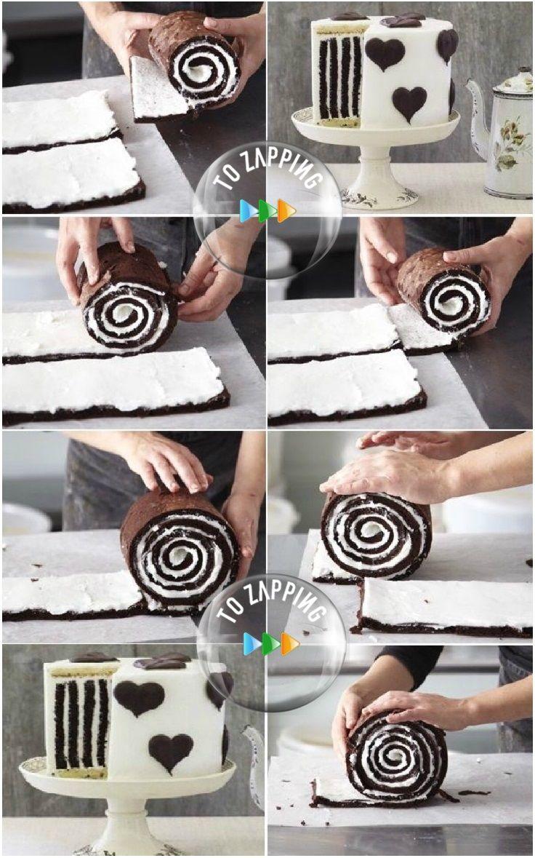 Tarta de rayas de chocolate