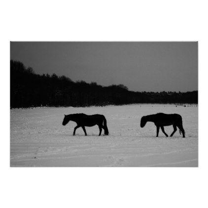 Horses On Snow Poster White Gifts Elegant Diy Gift Ideas