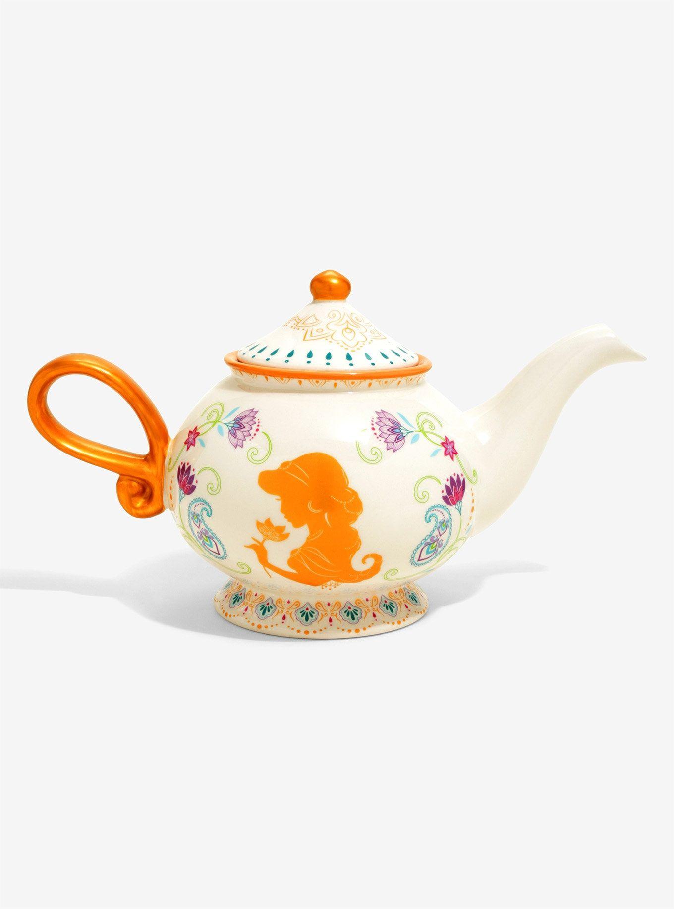 DISNEY ALADDIN DECORATIVE THREE WISHES GENIE LAMP SHAPED TEA POT AND GLASSES