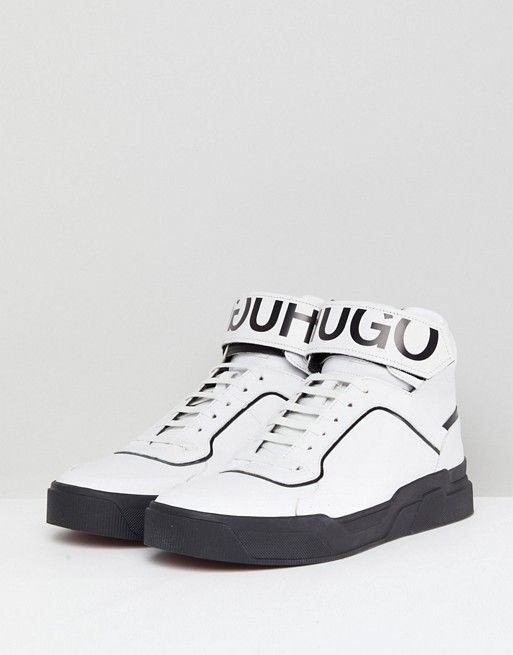 official cheap price HUGO Reverse Logo Hi Top Trainers in White hot sale sale online best wholesale online how much cheap price order online BRdNe