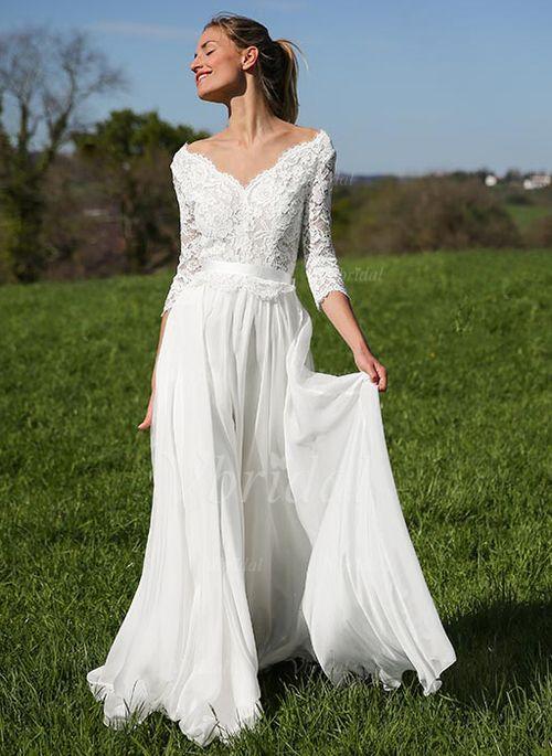 A Linie Brautkleid Lang Spitze Chiffon Hochzeitskleider Brautmode V-Ausschnitt Standesamt mit Schleppe