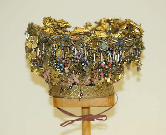Headdress Date: 18th century–19th century Culture: Norwegian Medium: tin, glass, gilt thread