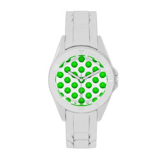 Bright Green Basketball Pattern Wristwatch