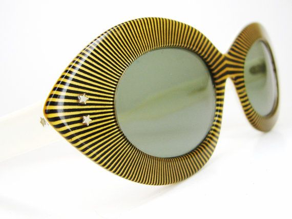 Vintage 50s 60s Striped Cat eye Sunglasses Frame