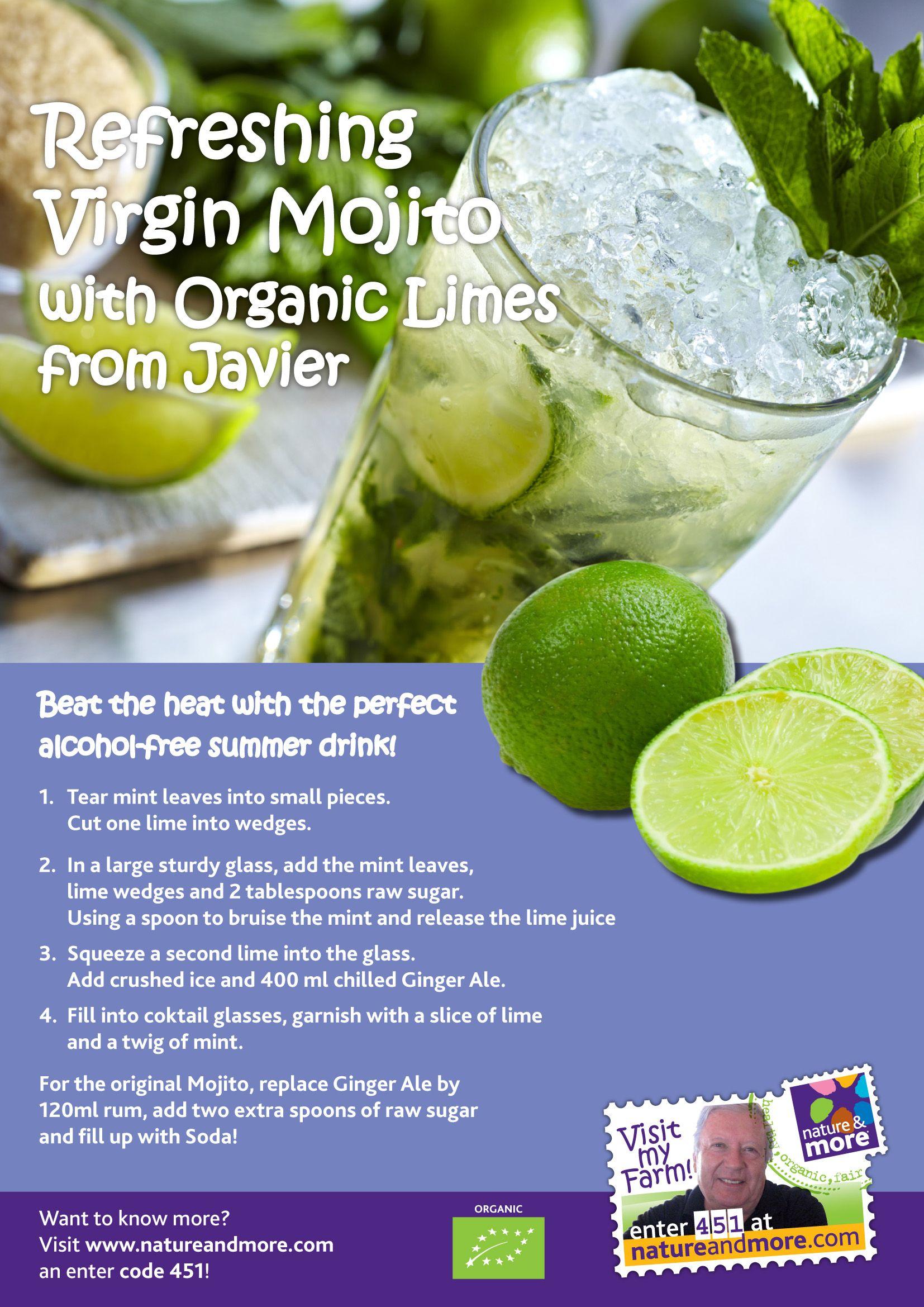 Refreshing Organic Virgin Mojito Recipe Organic Limes Natureandmore Summer Bbq Organic Recipes Orange Recipes Summer Drinks