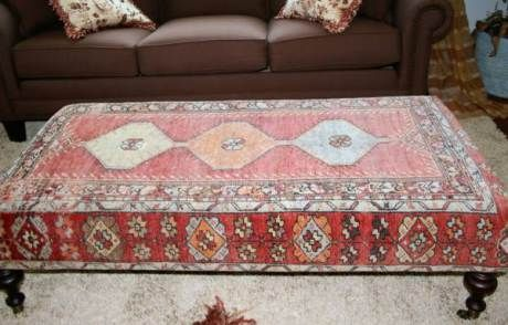 High Quality Kilim Rug Coffee Table Ottoman
