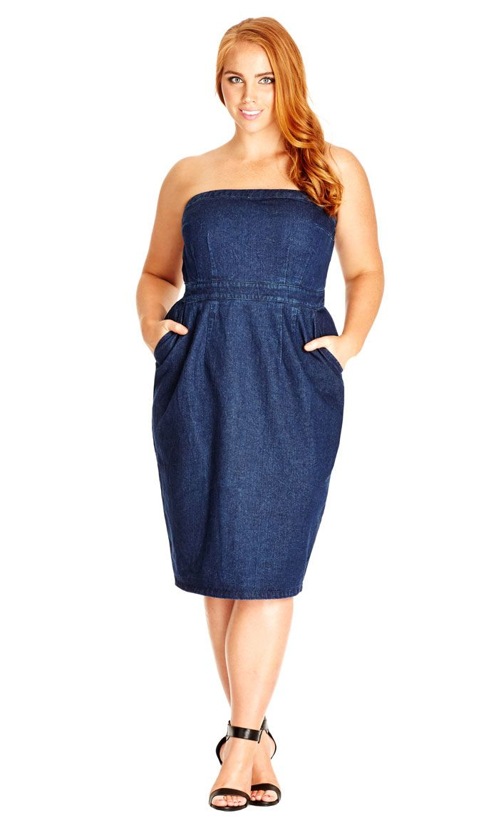 city chic denim strapless dress - women's plus size fashion city