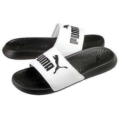 7f816a904094 Puma Popcat Mens 360265-01 White Black Logo Slide Sandals Slippers Size 8