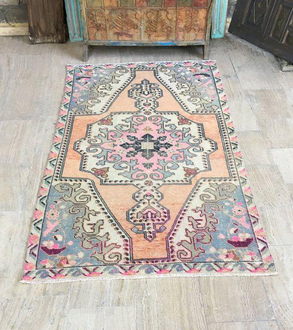 Oushak Rug 4x6.9ft Muted Color Rug Pink Rug Cappadocia Rug
