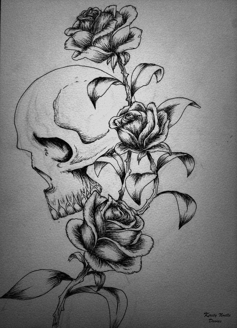 image detail for skull and roses tattoo design by kirstynoelledavies on deviantart inked. Black Bedroom Furniture Sets. Home Design Ideas
