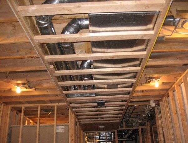 Duct Work Covering Interior Design Basement Makeover
