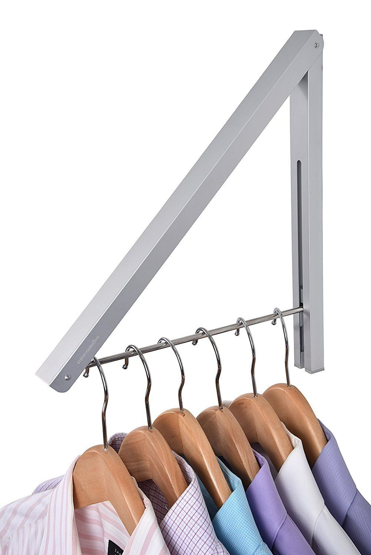 Amazon Com Stock Your Home Folding Clothes Hanger Wall Mounted Retractable Clothes Rack Aluminum Easy Installat Clothing Rack Folding Clothes Clothes Hanger