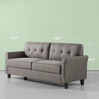 petite Priage by ZINUS Grey Upholstered Sofa Couch (Grey), Gray