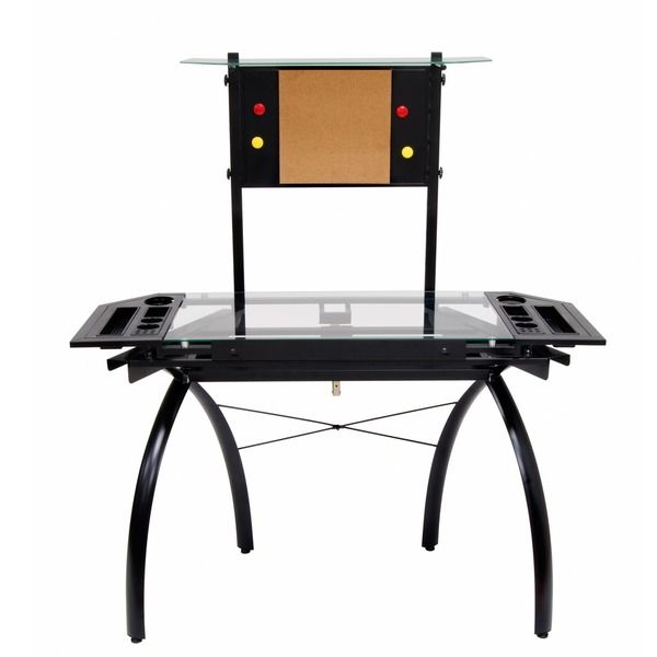 Studio Designs Futura Black/Glass Tower Drafting And Hobby Craft Table