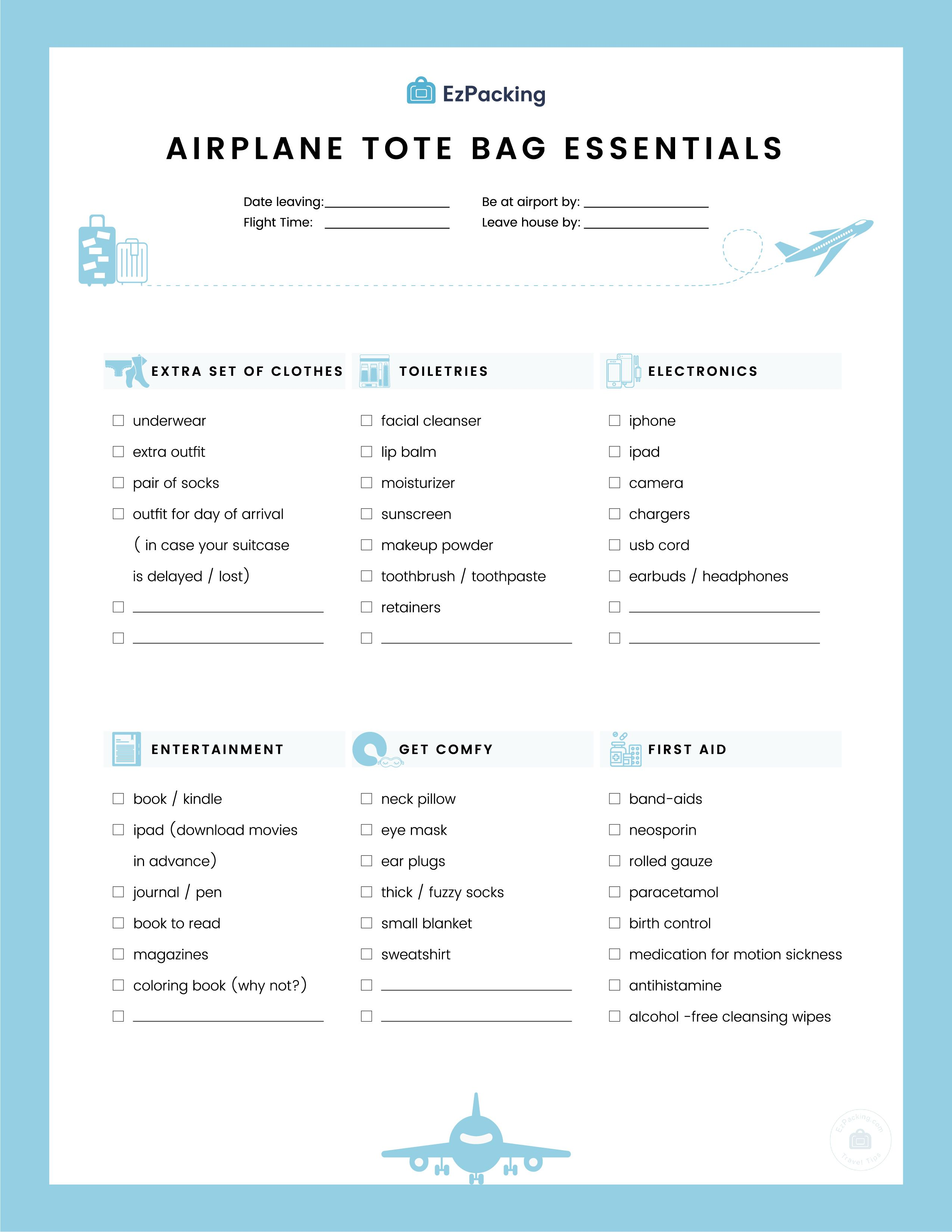 Airplane Carry On Essentials | Download our free Airplane