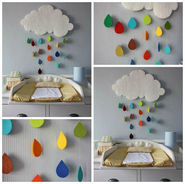 Diy Felt Cloud And Rain Drops Mobile Kinderkamer Interieur