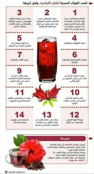 فوائد شرب الكركدية Health Tips Health Alcoholic Drinks