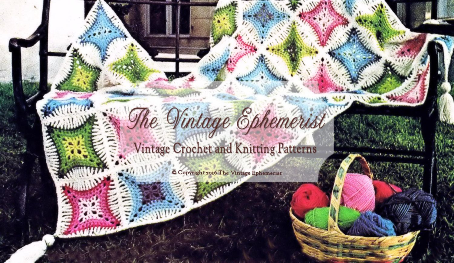 Vintage Crochet Cathedral Window Afghan Blanket Crochet Pattern PDF ...