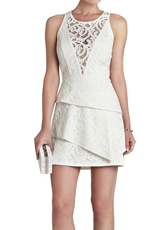 White Lace Insert With Zipper Bodycon Dress 33.67