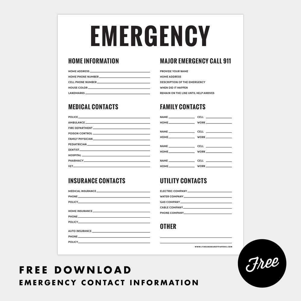 Printable Emergency Phone Numbers List Emergency Binder Family