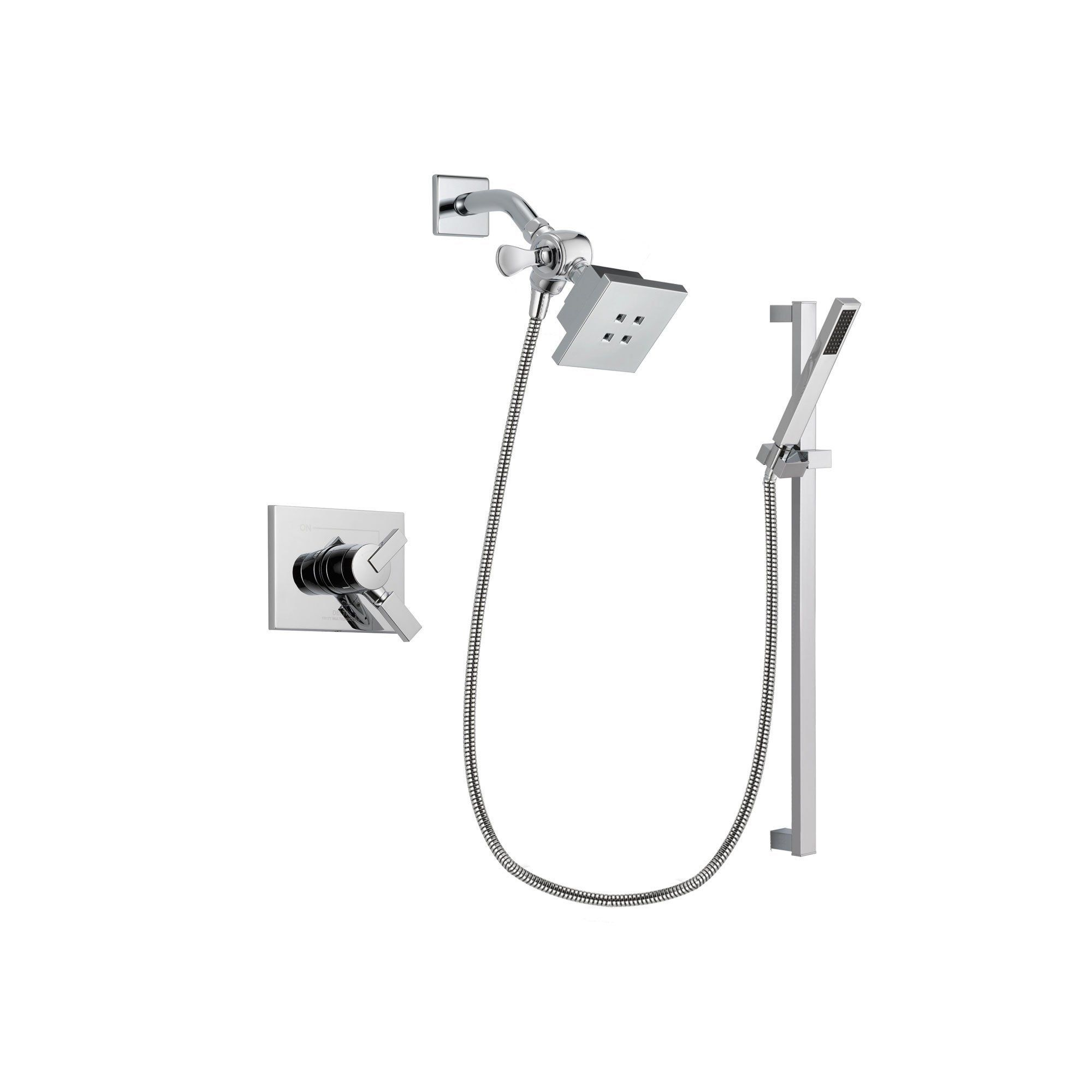 Delta Vero Chrome Finish Dual Control Shower Faucet System Package With  Square Showerhead And Modern Square Wall Mount Slide Bar With Handheld  Shower Spray ...