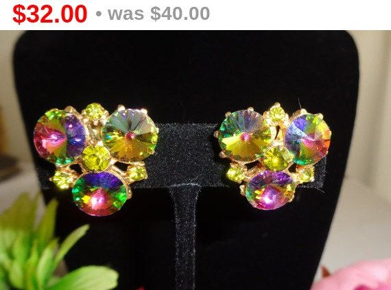 JULIANA Watermelon Aurora Borealis Earrings with Clip On Backs - Stunning and set in Goldtone Metal. Absolutely gorgeous Aurora Borealis Rhinestone Earrings. Also have a Watermelon Bracelet and a Watermelon Necklace in the store on sale.