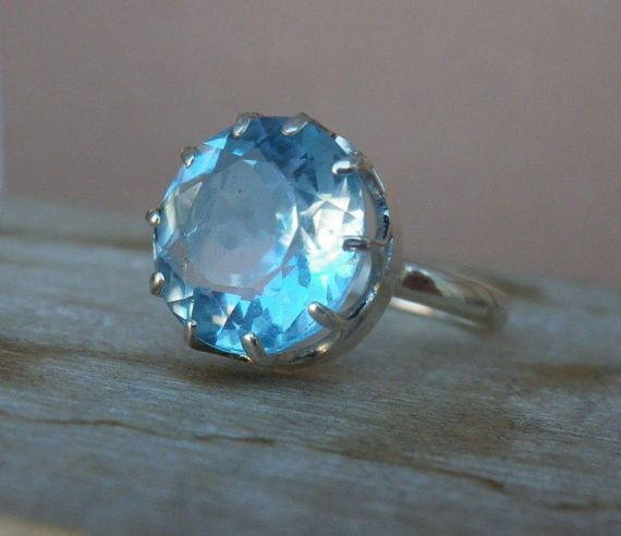 Ring With Sky Blue Topaz. Ring With Natural Topaz Light Blue Colour. Topaz Round Cut. present for her. Gift Idea