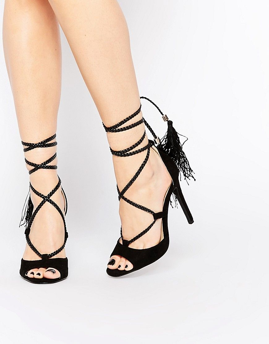 Daisy Street Tassel Ghillie Sandals - black lace-up sandals, black heeled  sandals, black tassel sandals, black lace-up heeled sandals, black tassel  lace-up ...
